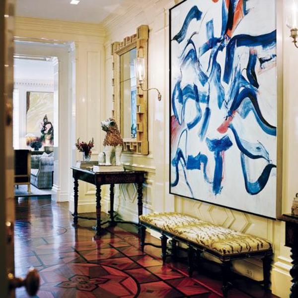 art design ideen  korridor gestaltung malerei bank