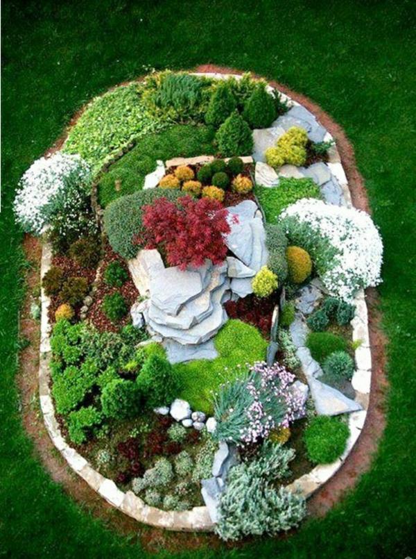 attraktiv inspirirend gardendekosteinumrandung pflanzen