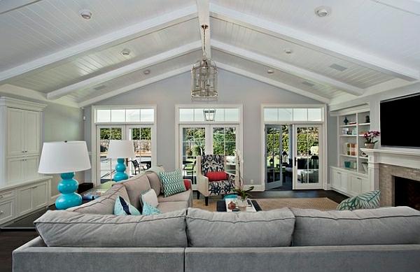 auffallend moderne tischlampen blau lampenfuß wohnzimmer