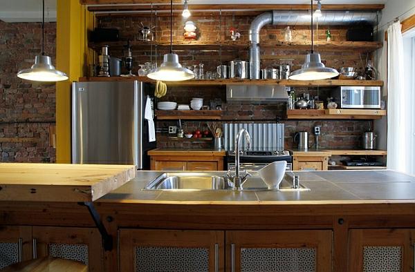 backsteinwand metall kücheneinrichtung und küchenmöbel oberflächen