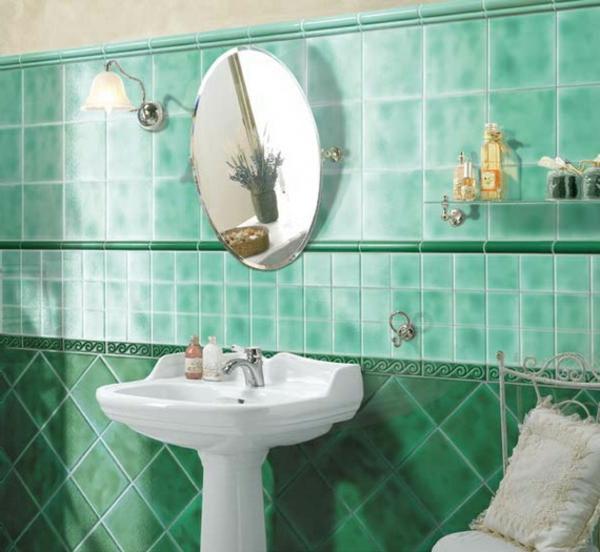 bad ideen bilder grün frisch design waschbecken regale