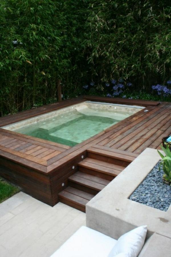 badewanne im garten genießen sommer holz robust kiesel