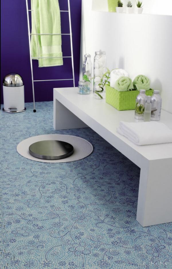 badezimmer bilder möbel bodenbelag mosaik blumenmuster