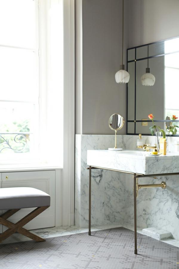 dekoartikel für einrichtungsideen badezimmer hocker waschbecken marmor