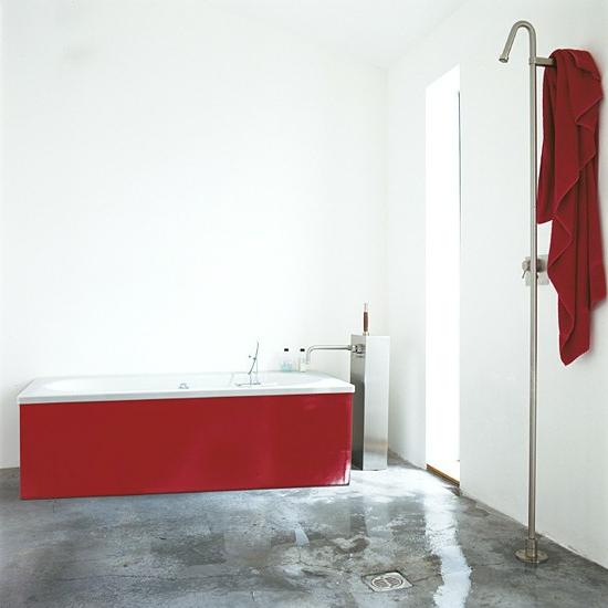 tuch dusche spray badezimmer rot badewanne