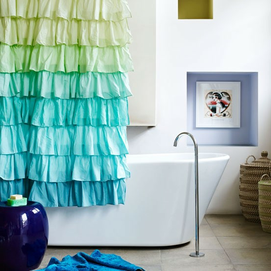 badezimmervorhang cool grün blau farben bad