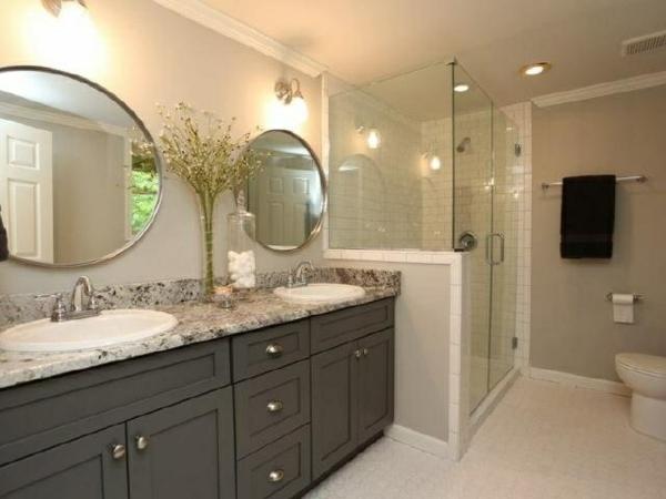 badmöbel ikea runde spiegel durchsichtige duschkabine