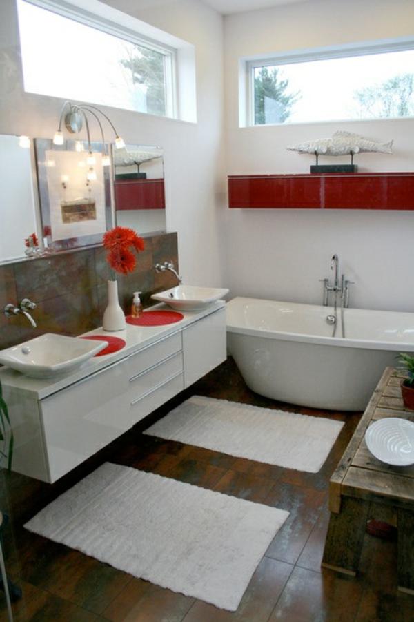 badmöbel ikea vanne schrank waschbecken rote akzente