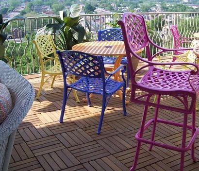 Holzfliesen Verlegen - Holzboden Auf Dem Balkon Auf Dem Balkon Holzfliesen Verlegen