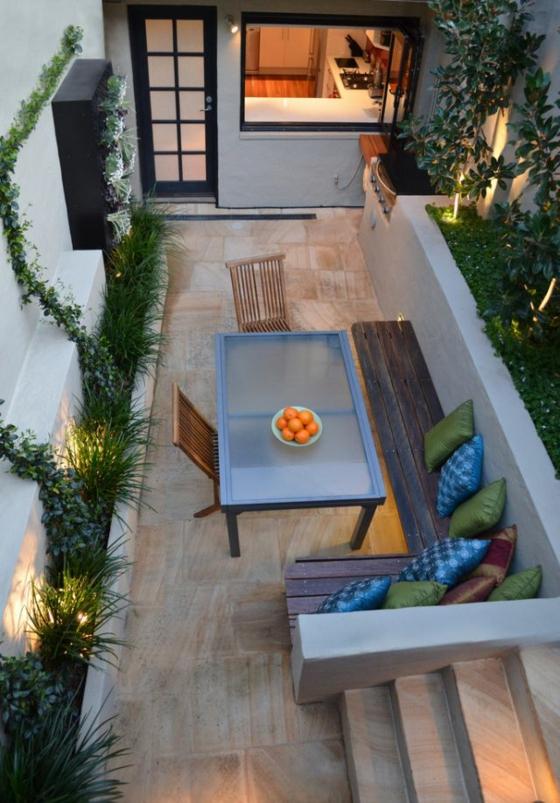balkon ideen terrassengestaltung holzbank esszimmer gartenideen pflanzen