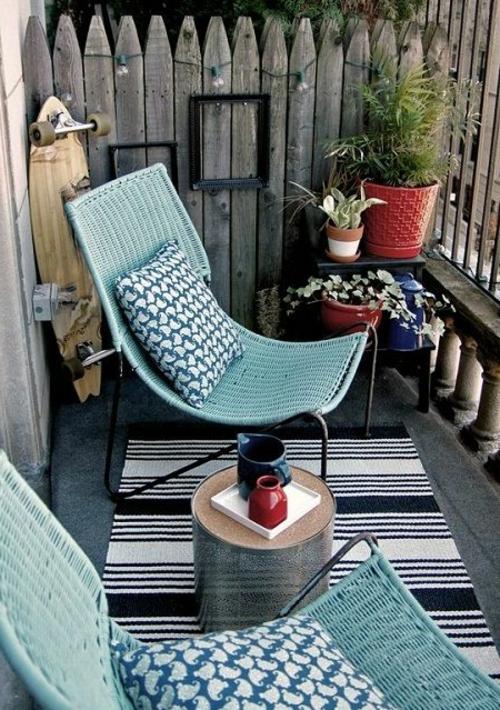 bewohnlich entwerfen balkongestaltung idee gemütlich blaue