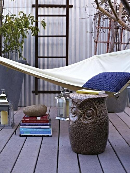 gestaltung bewohnlich entwerfen idee gemütlich hängematte balkon