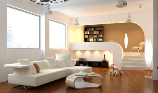 beleuchtung ideen designer möbel holzboden zwischengeschoss wohnzimmer gestalten