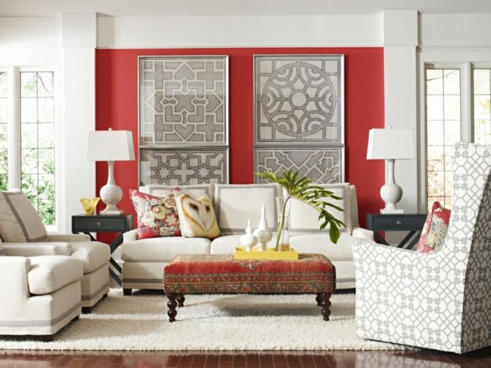 beste wandfarben wohnzimmer rot weiß wandgestaltung ideen orientalische akzente