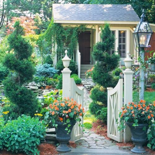 vorgarten gestalten steingarten idee steine kiesel - Vorgarten Ideen