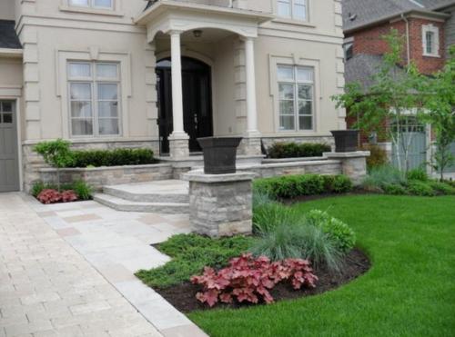 blumen pflanzen arten simpel vorgartengestaltung idee steine