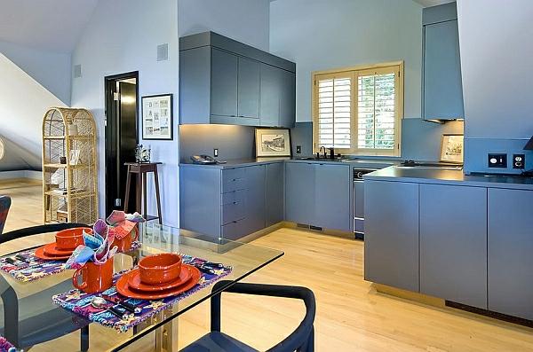 blass blau küchenschränke design ideen holz bodenbelag