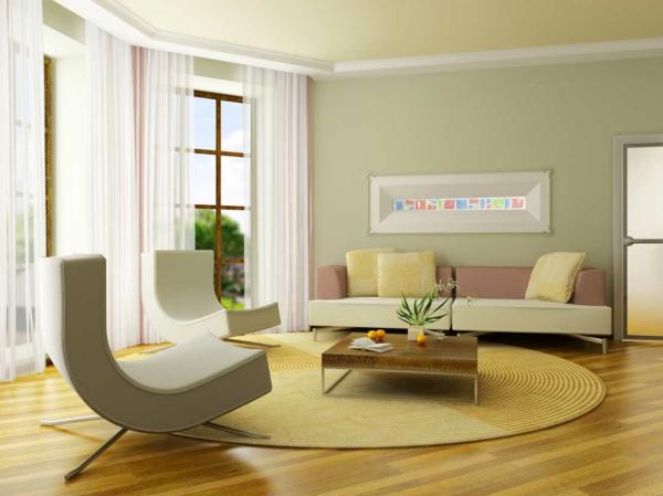 blass grün wandfarben wohnzimmer offen ergonomisch sessel