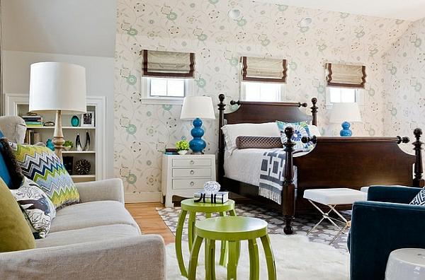 blau grün frisch schlafzimmer tischlampen