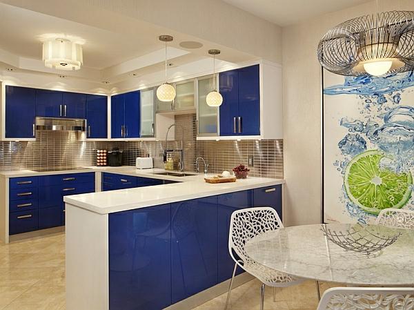 blau weiß farben glanzvoll küchenarbeitsplatte