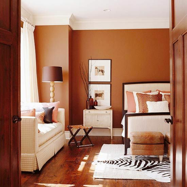 braun farbtöne warm wandfarben wohnzimmer