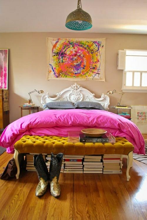 mädchen bettdecke rosa bunt angenehm kinderzimmer