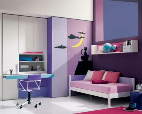 bunte farben  violett schüler kinderzimmer purpurrot lila