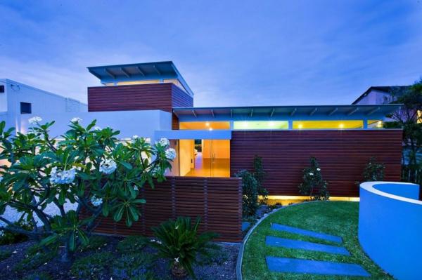 garten steinplatten contemporary sichtschutz holz  moderne Gartengestaltung Ideen