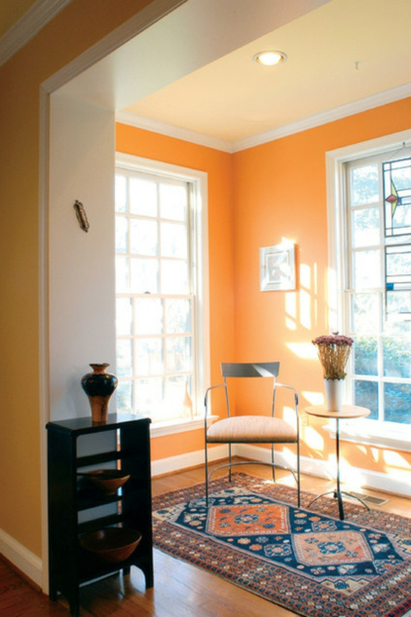 farbgestaltung und wandfarben ideen - umgang mit gelb und orange - Wohnzimmer Gelb Orange