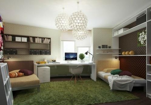 cool Einrichtungsideen für Jugendzimmer dunkel fell teppich grün