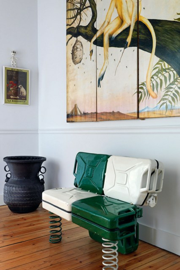 couch DIY originell maskulin grün weiß flur sitzbank