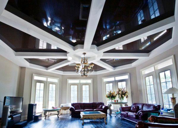 decken design stretch schwarz weiß ledersofa wohnzimmer