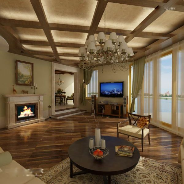 deckendesign holzimitation wohnzimmer rundtisch laminat