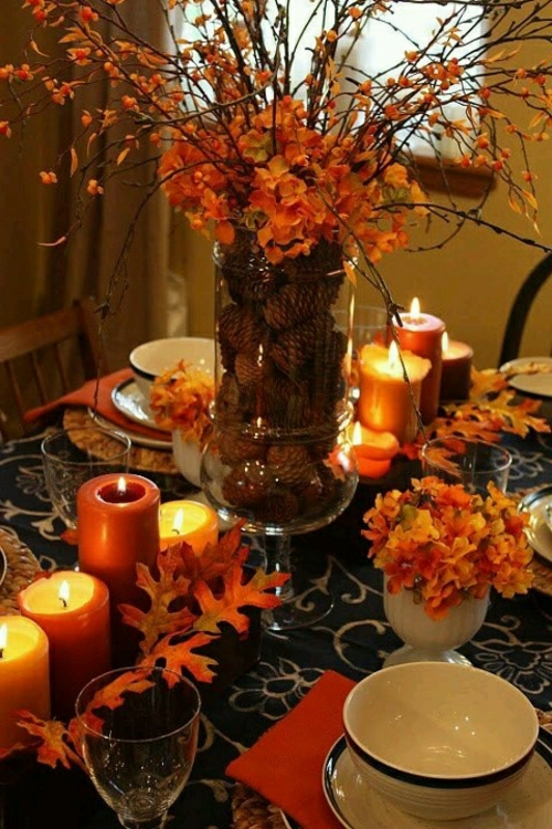 dekoideen herbst glühen kerzen vase