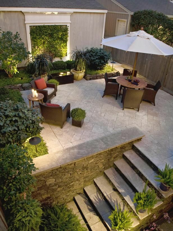 design inspiration garten beton bodenbelag treppe rattan