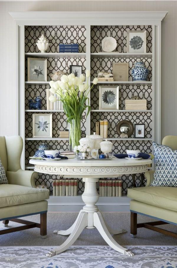 details ziermuster frisch tulpenstrauß wandfarben wohnzimmer