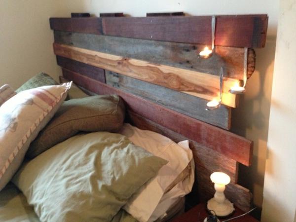 diy bett kopfteil aus nutzholz löffel dekoration