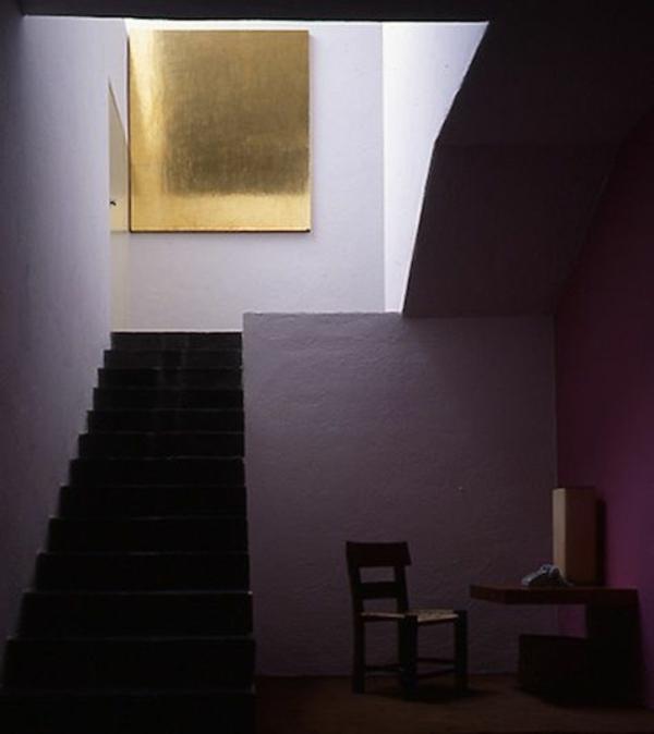 diy dekoideen für korridor golden gemälde lila wände