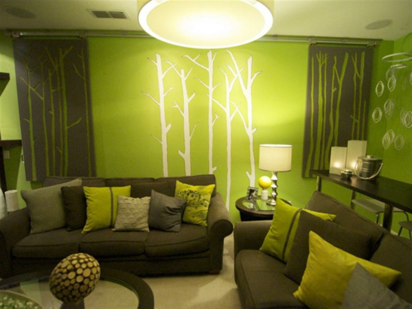 dunkel hell grün wandfarben tapeten wandtattoo wandfarben wohnzimmer