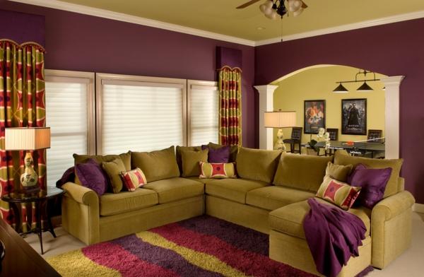 farbtöne wandmuster weich teppichläufer wandfarben wohnzimmer