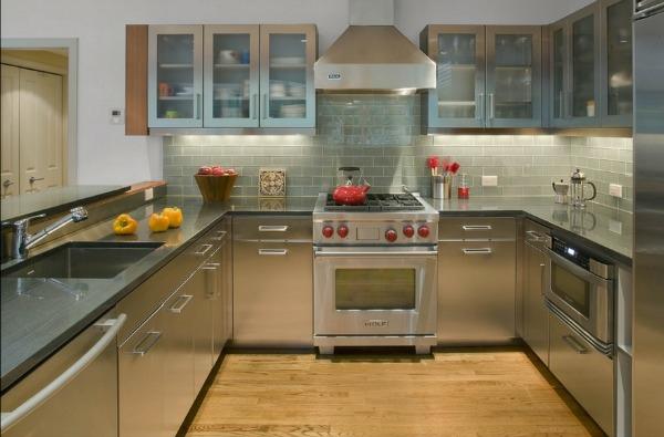 edelstahl küche absauger küchenschrank arbeitsfläche waschbecken