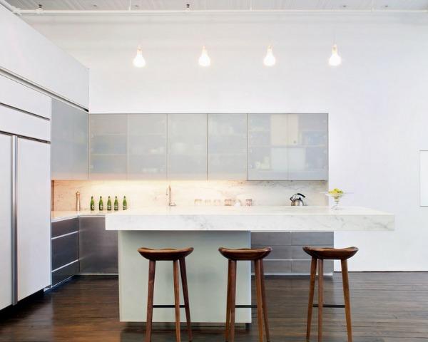 edelstahl küche kücheninsel barhocker flaschen