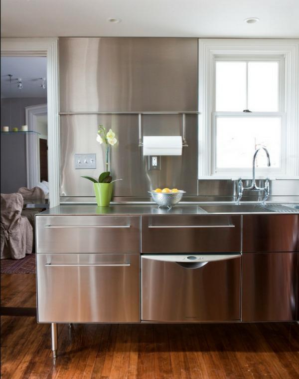 edelstahl küche kücheninsel dekoideen blumentopf