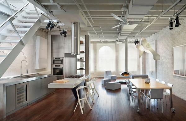 edelstahl küche treppe sitzecke regale