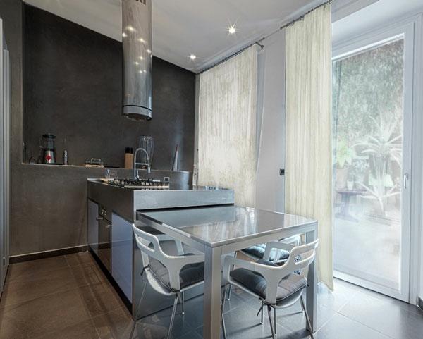 edelstahl mobiliar küche grau farben