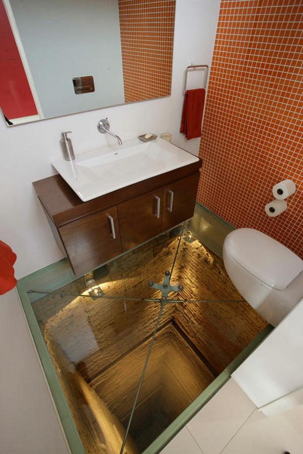 einrichtungsideen bad glas fußboden tunnel