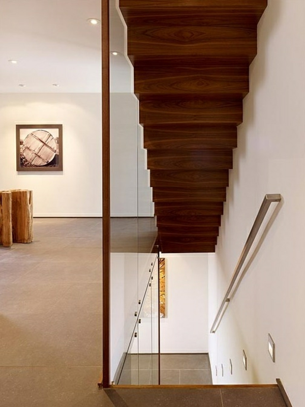 einrichtungsideen holztreppen glas gelnder dekoration - Treppengelander Ideen Fur Treppengestaltung Innen Und Ausen Haus Dekorieren Tipps