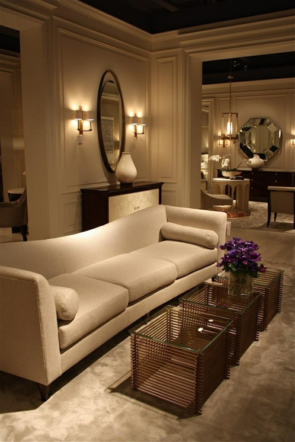 luxus wohnzimmer tische:einrichtungsideen im wohnzimmer weißes sofa deko tische spiegel