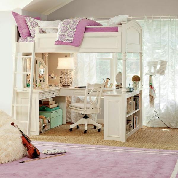 einrichtungsideen stockbett mädchenzimmer rosa weiß