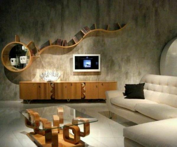 Einrichtungsideen Wohnzimmer Deko An Der Wand Holz